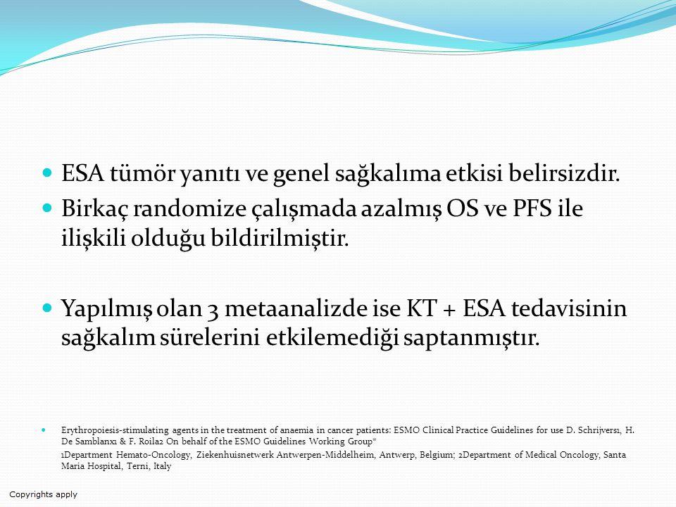 ESA tümör yanıtı ve genel sağkalıma etkisi belirsizdir.