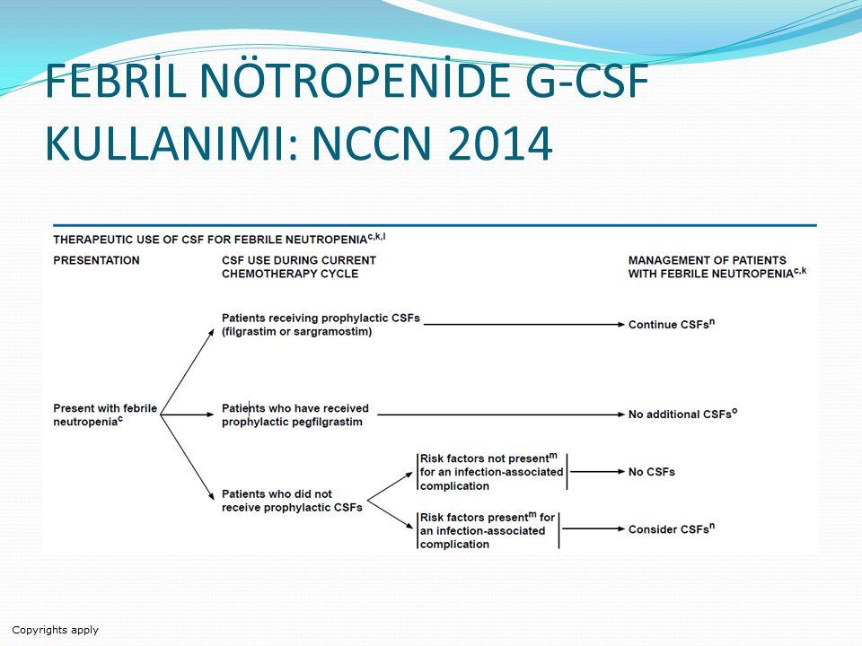 FEBRİL NÖTROPENİDE G-CSF KULLANIMI: NCCN 2014