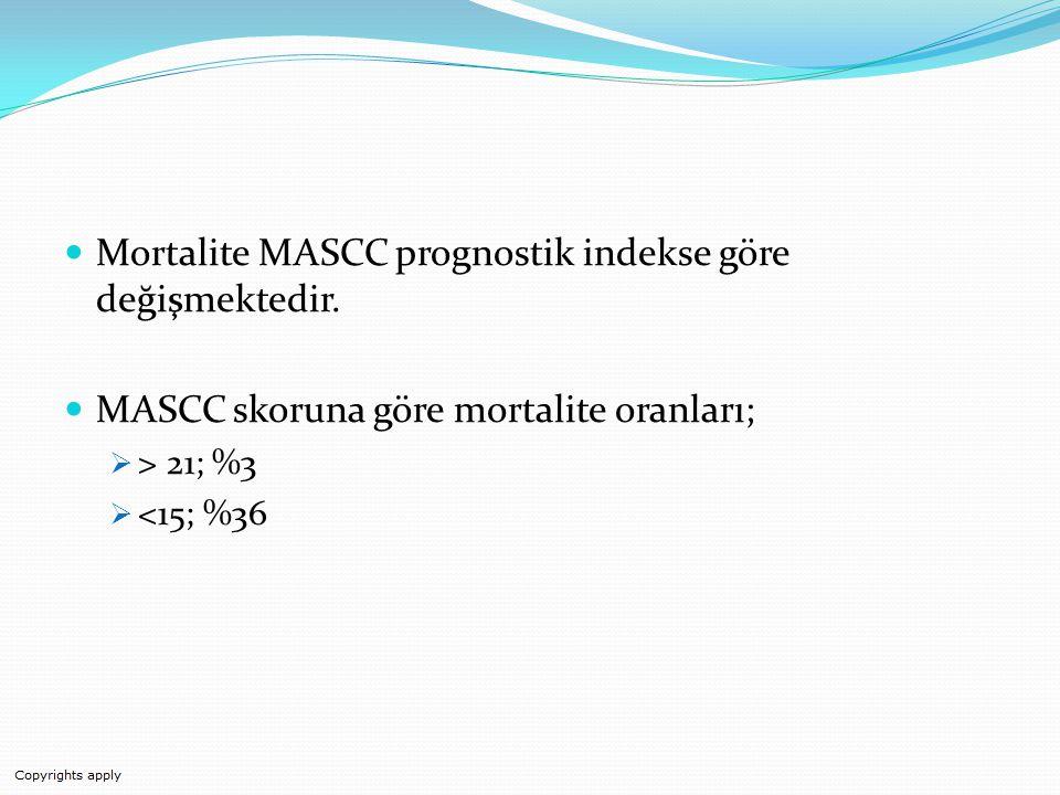 Mortalite MASCC prognostik indekse göre değişmektedir.