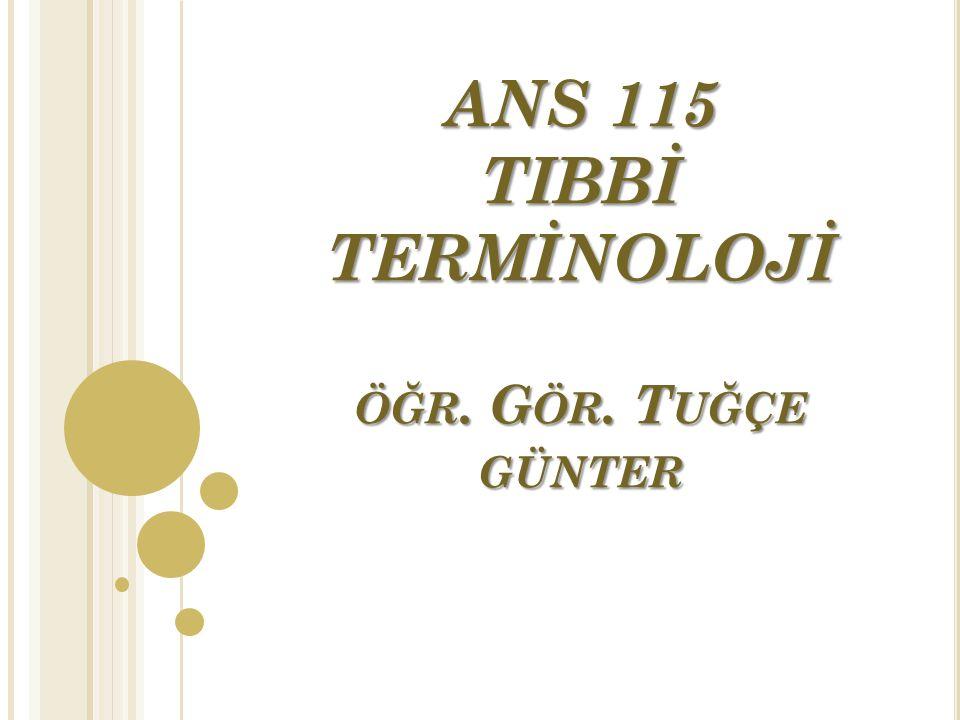 ANS 115 TIBBİ TERMİNOLOJİ öğr. Gör. Tuğçe günter