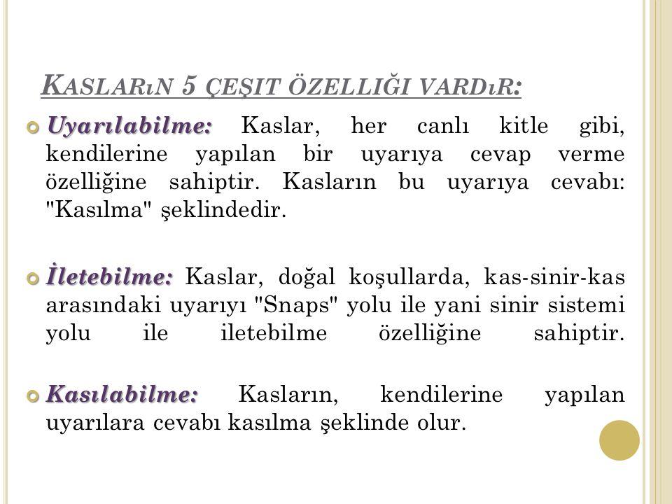 Kasların 5 çeşit özelliği vardır: