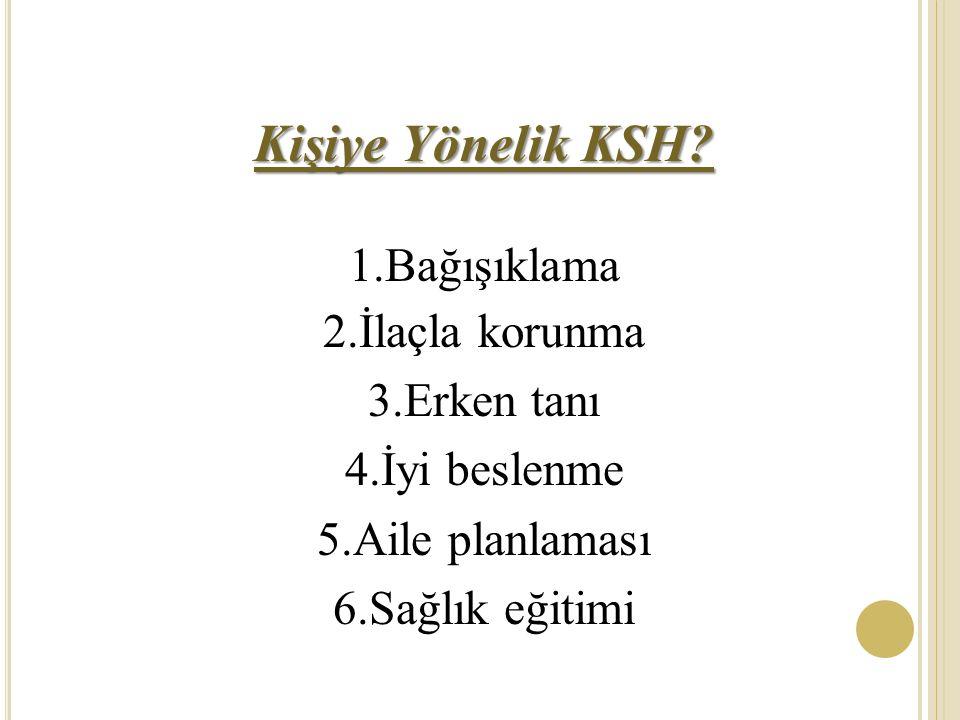 Kişiye Yönelik KSH 1.Bağışıklama 2.İlaçla korunma 3.Erken tanı