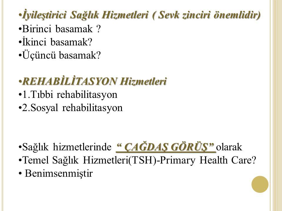 İyileştirici Sağlık Hizmetleri ( Sevk zinciri önemlidir)