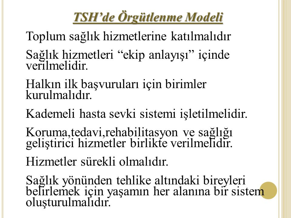 TSH'de Örgütlenme Modeli