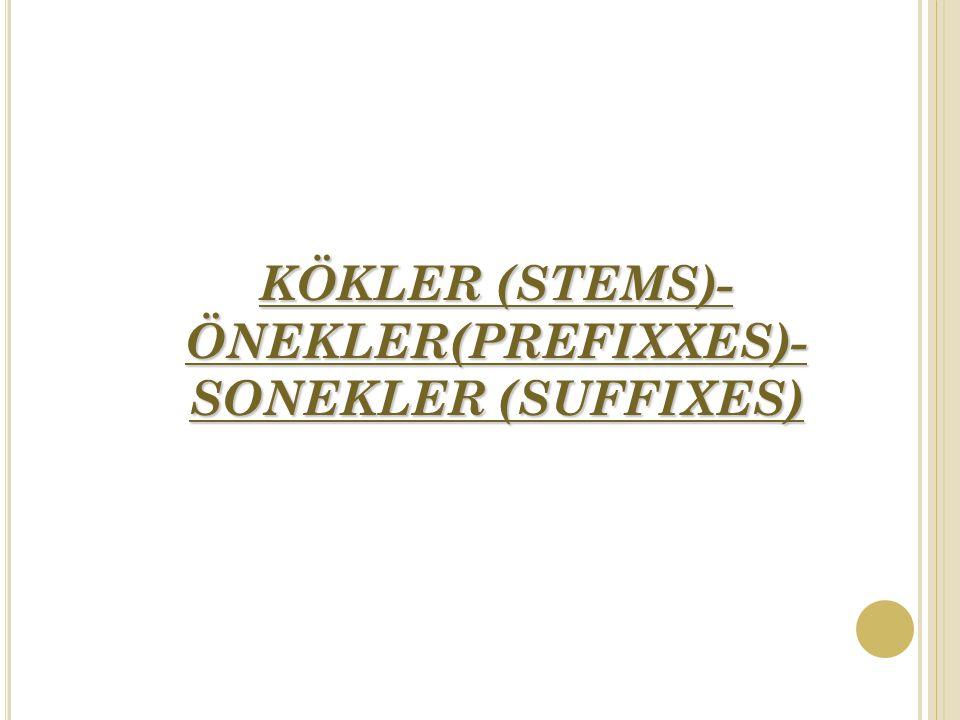 KÖKLER (STEMS)-ÖNEKLER(PREFIXXES)-SONEKLER (SUFFIXES)