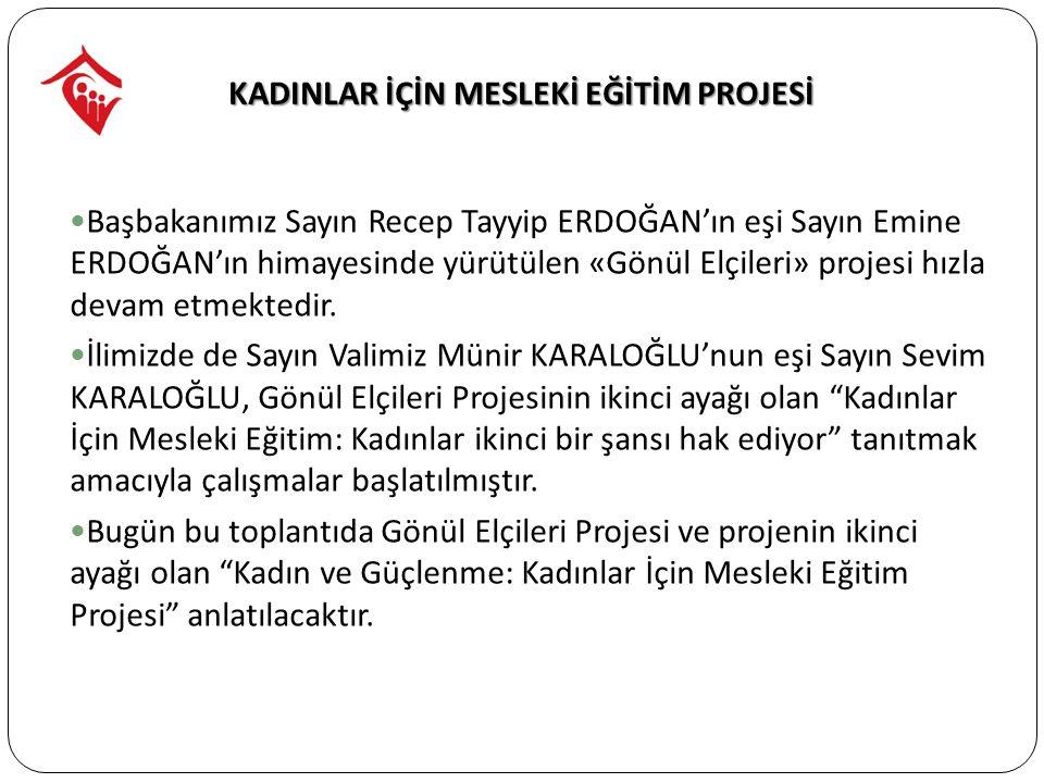 Başbakanımız Sayın Recep Tayyip ERDOĞAN'ın eşi Sayın Emine ERDOĞAN'ın himayesinde yürütülen «Gönül Elçileri» projesi hızla devam etmektedir.