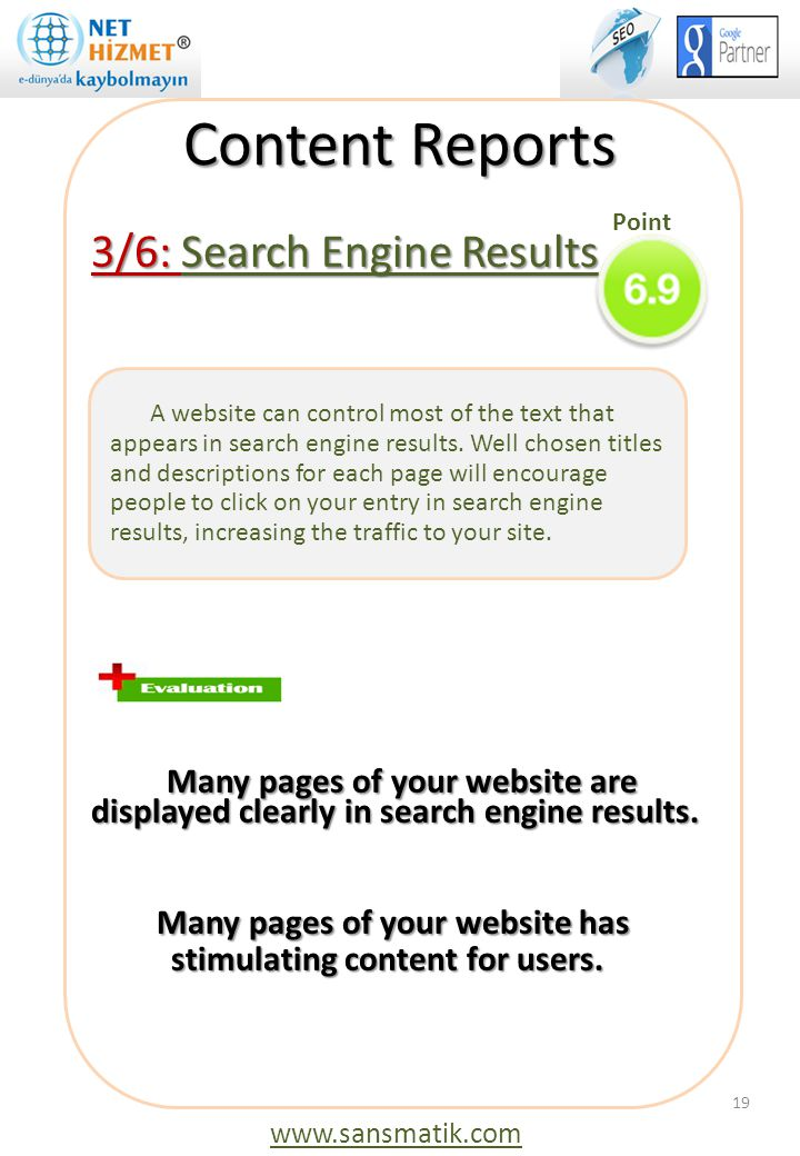Content Reports 3/6: Search Engine Results