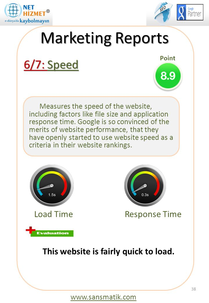 Marketing Reports 6/7: Speed Load Time Response Time