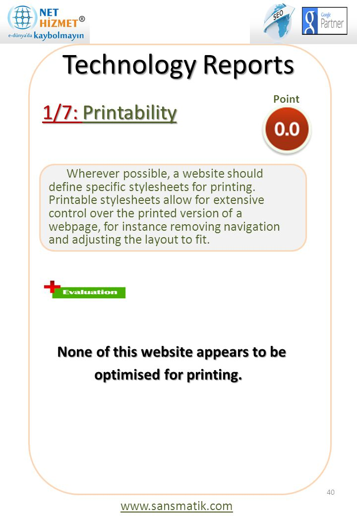 Technology Reports 1/7: Printability