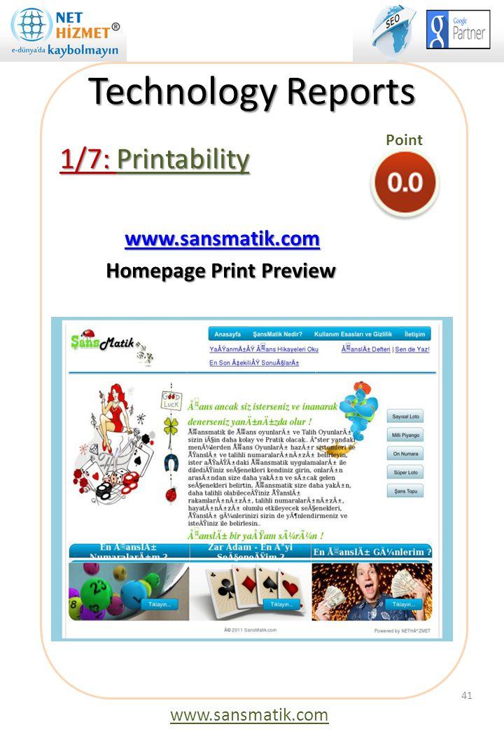 Technology Reports 1/7: Printability www.sansmatik.com