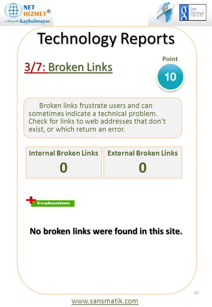 Technology Reports Point. 3/7: Broken Links No broken links were found in this site.