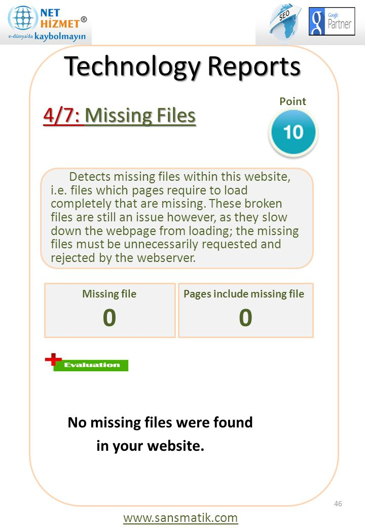 Technology Reports 4/7: Missing Files No missing files were found