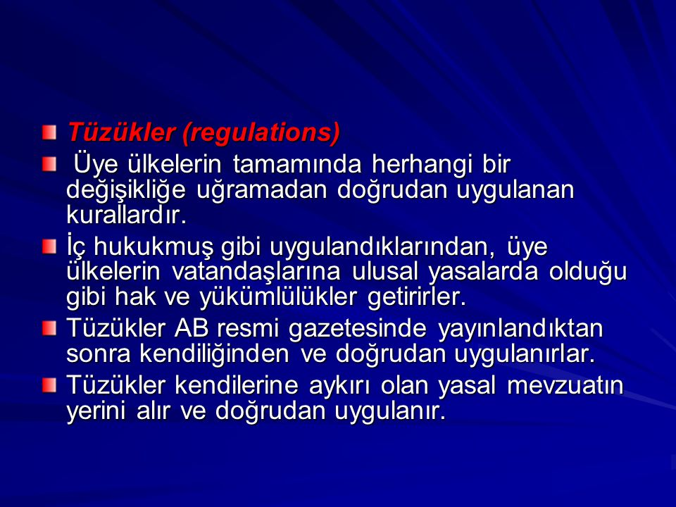 Tüzükler (regulations)