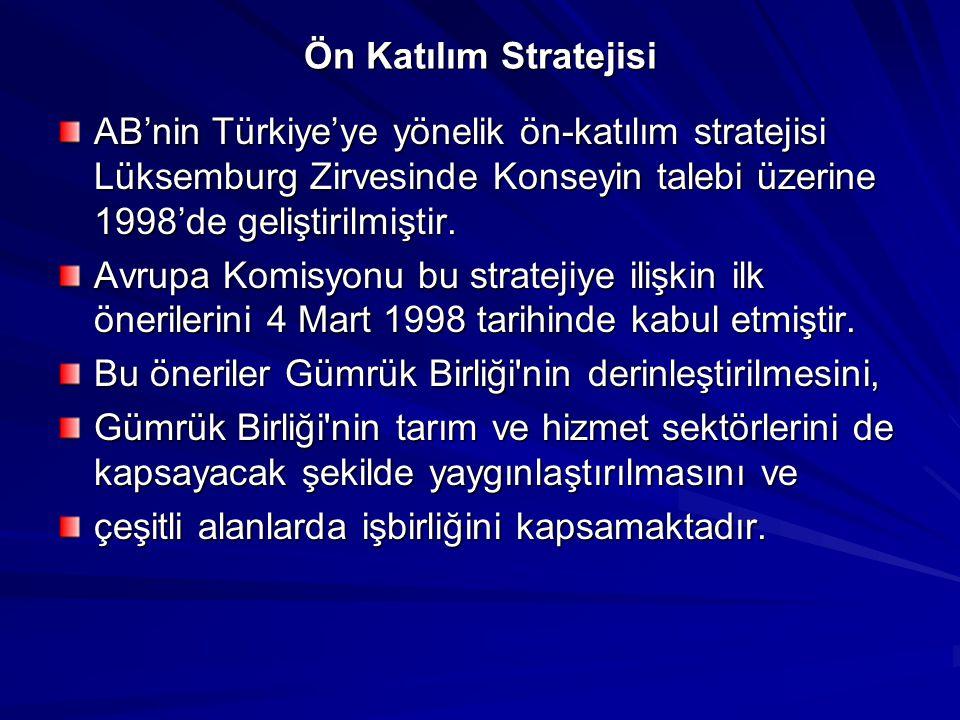 Ön Katılım Stratejisi AB'nin Türkiye'ye yönelik ön-katılım stratejisi Lüksemburg Zirvesinde Konseyin talebi üzerine 1998'de geliştirilmiştir.