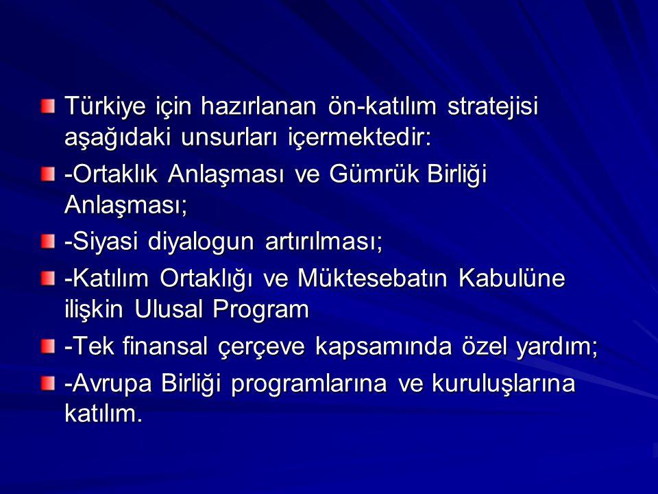 Türkiye için hazırlanan ön-katılım stratejisi aşağıdaki unsurları içermektedir: