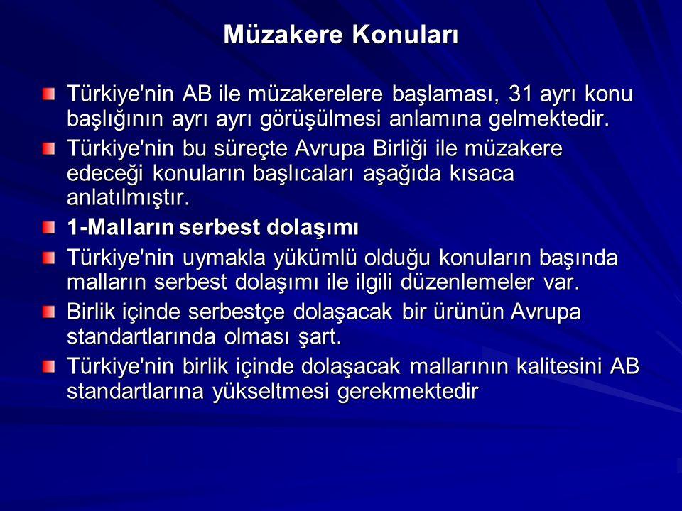 Müzakere Konuları Türkiye nin AB ile müzakerelere başlaması, 31 ayrı konu başlığının ayrı ayrı görüşülmesi anlamına gelmektedir.