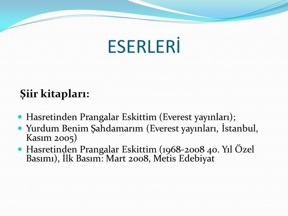 ESERLERİ Şiir kitapları: