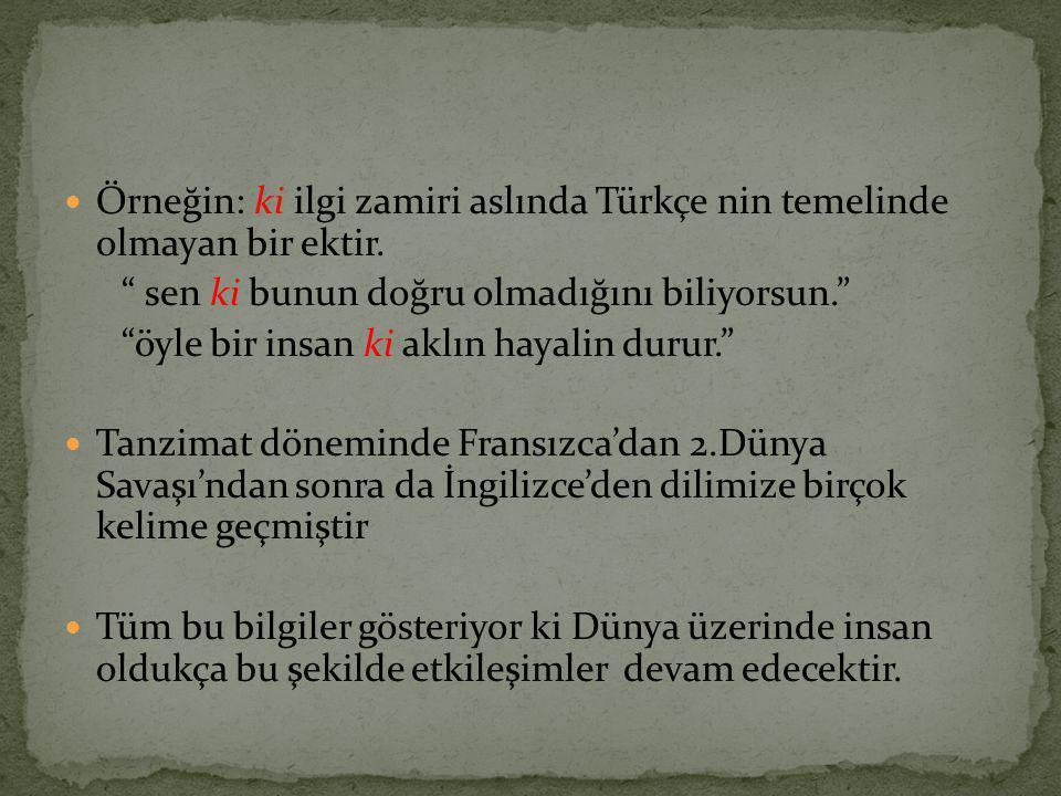 Örneğin: ki ilgi zamiri aslında Türkçe nin temelinde olmayan bir ektir.