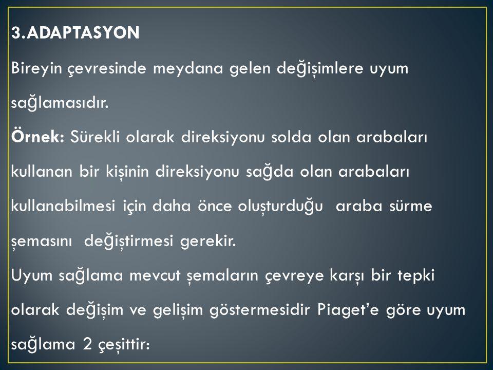 3.ADAPTASYON Bireyin çevresinde meydana gelen değişimlere uyum sağlamasıdır.