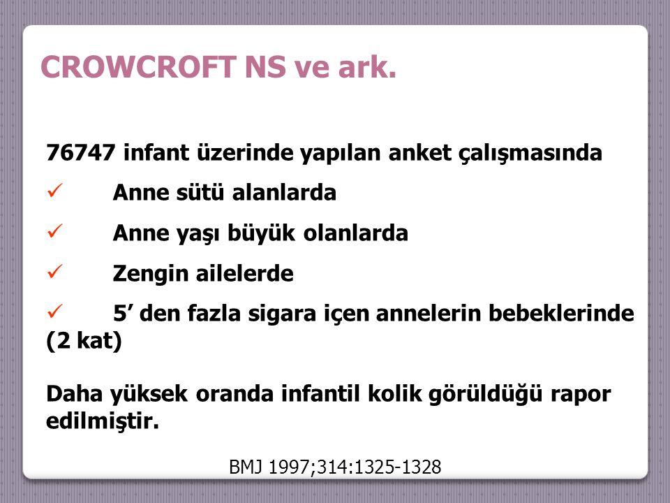 CROWCROFT NS ve ark. 76747 infant üzerinde yapılan anket çalışmasında