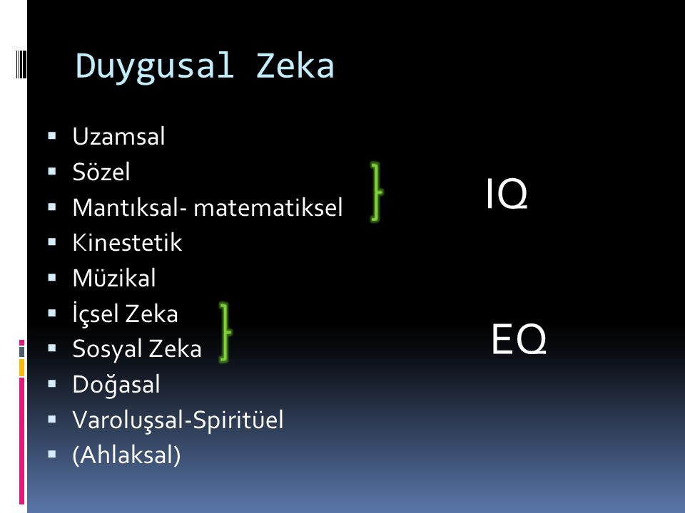 IQ EQ Duygusal Zeka Uzamsal Sözel Mantıksal- matematiksel Kinestetik