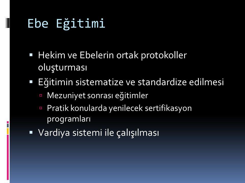 Ebe Eğitimi Hekim ve Ebelerin ortak protokoller oluşturması