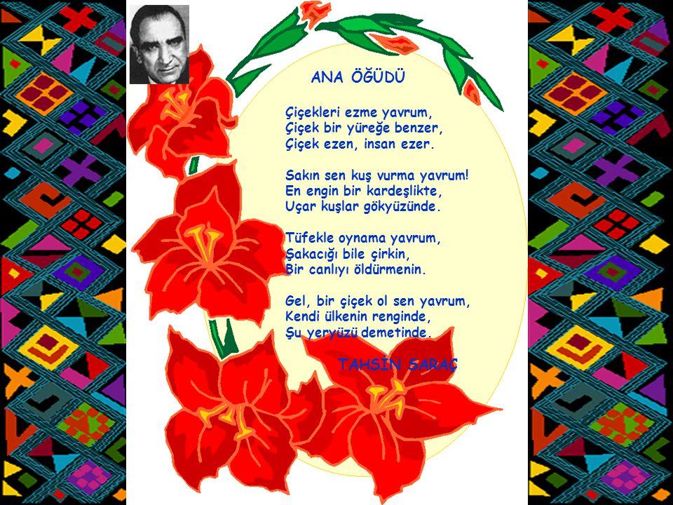 ANA ÖĞÜDÜ TAHSİN SARAÇ Çiçekleri ezme yavrum, Çiçek bir yüreğe benzer,