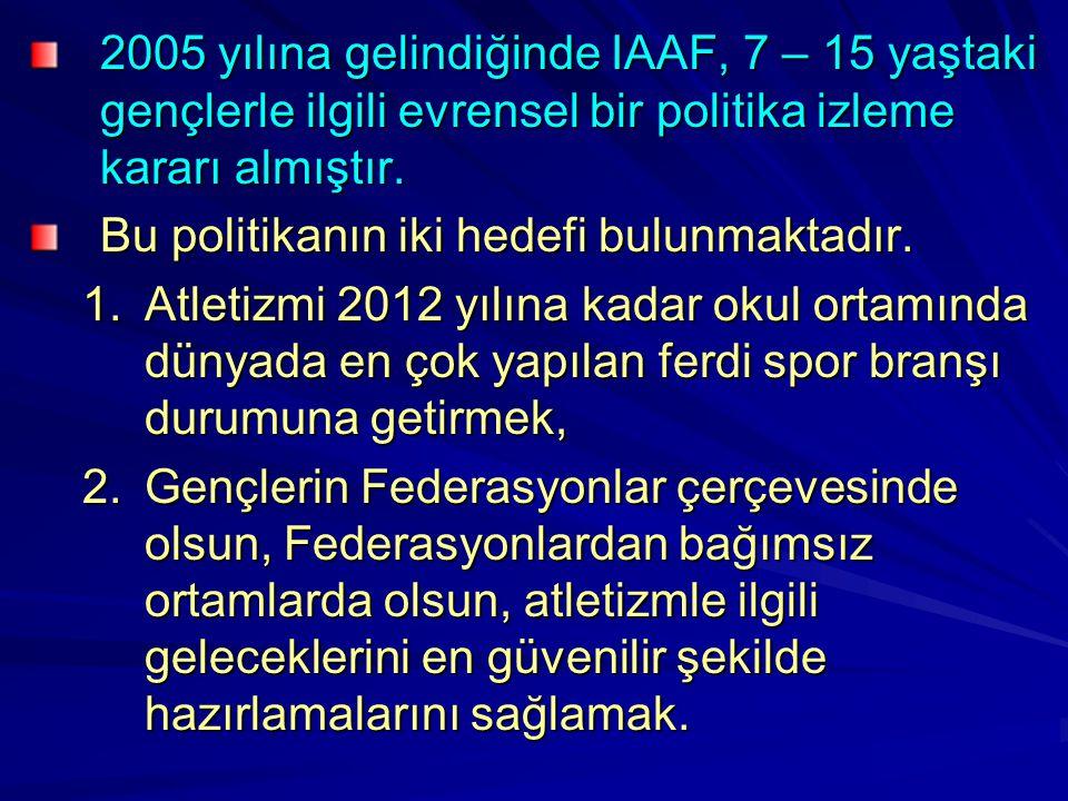 2005 yılına gelindiğinde IAAF, 7 – 15 yaştaki gençlerle ilgili evrensel bir politika izleme kararı almıştır.