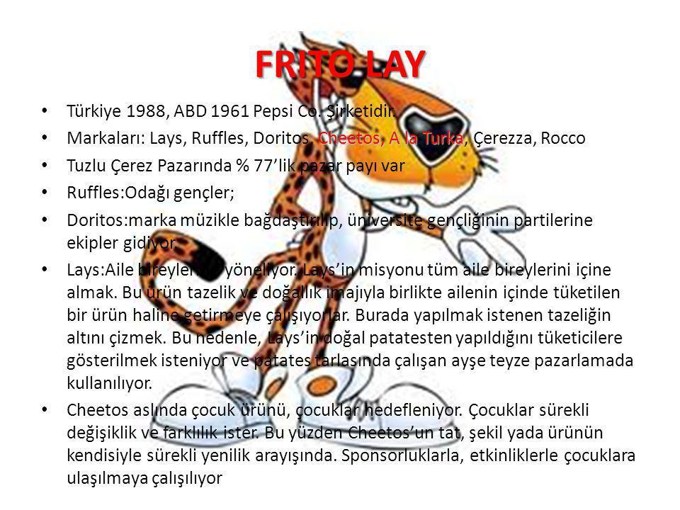 FRITO LAY Türkiye 1988, ABD 1961 Pepsi Co. Şirketidir.
