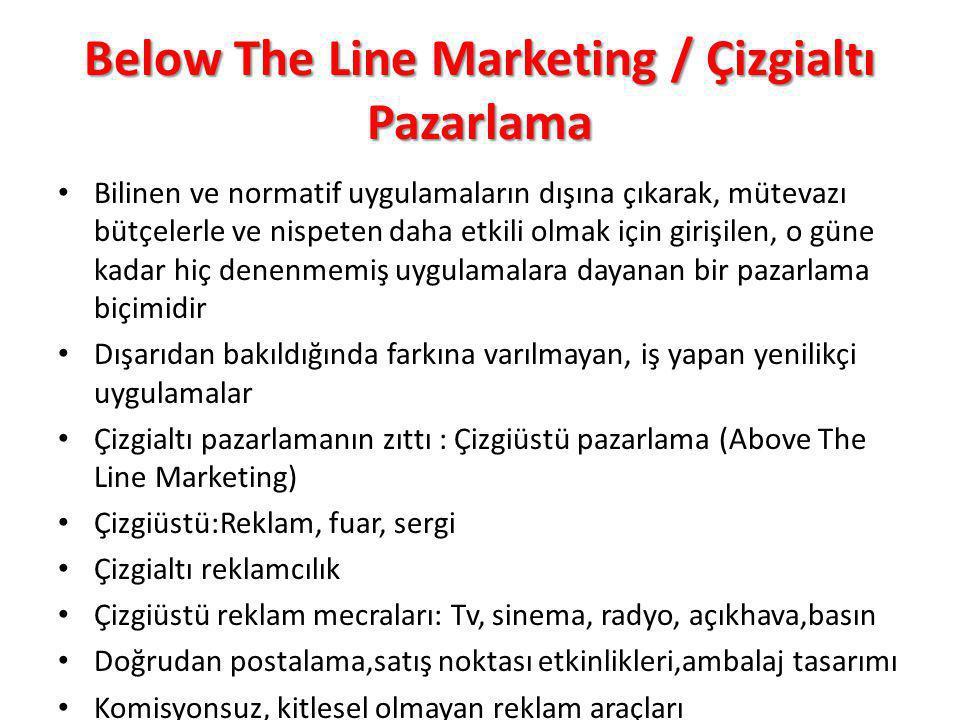 Below The Line Marketing / Çizgialtı Pazarlama