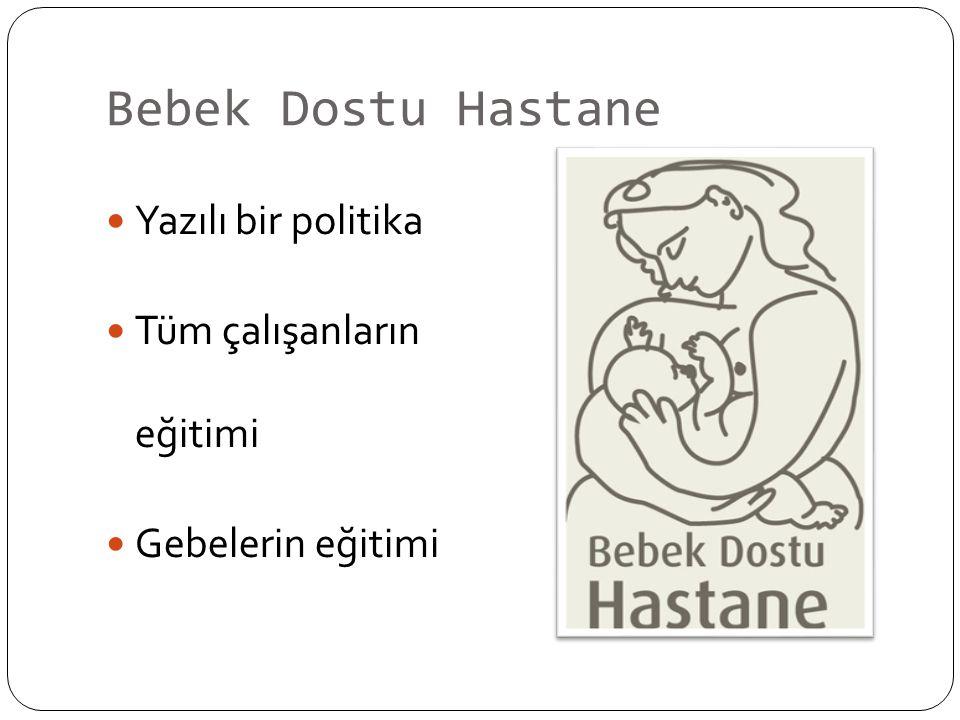 Bebek Dostu Hastane Yazılı bir politika Tüm çalışanların eğitimi