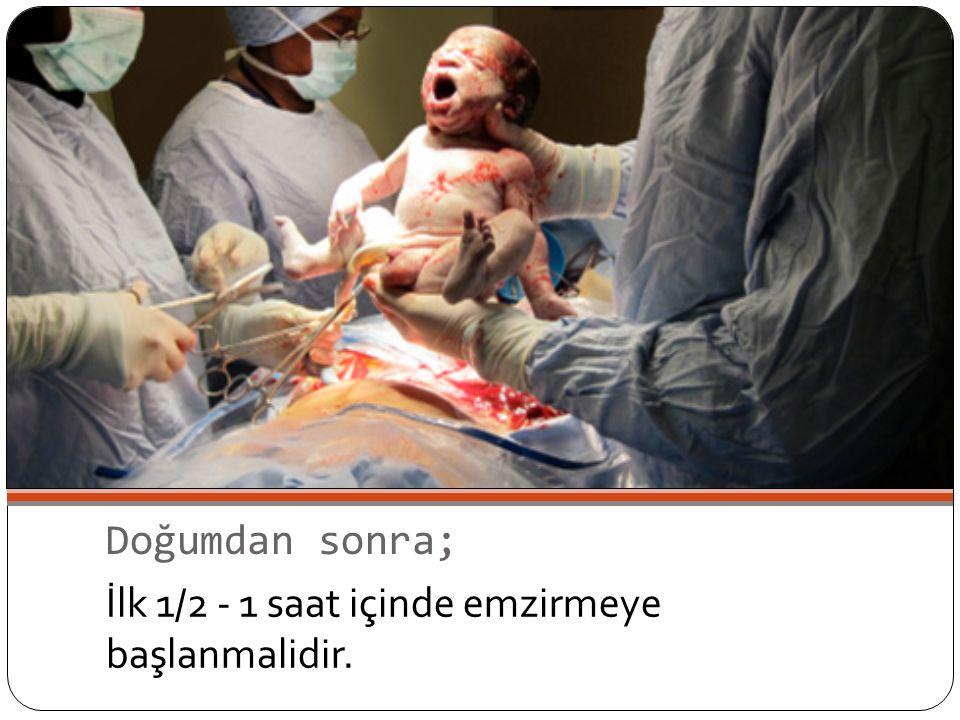 Doğumdan sonra; İlk 1/2 - 1 saat içinde emzirmeye başlanmalidir.