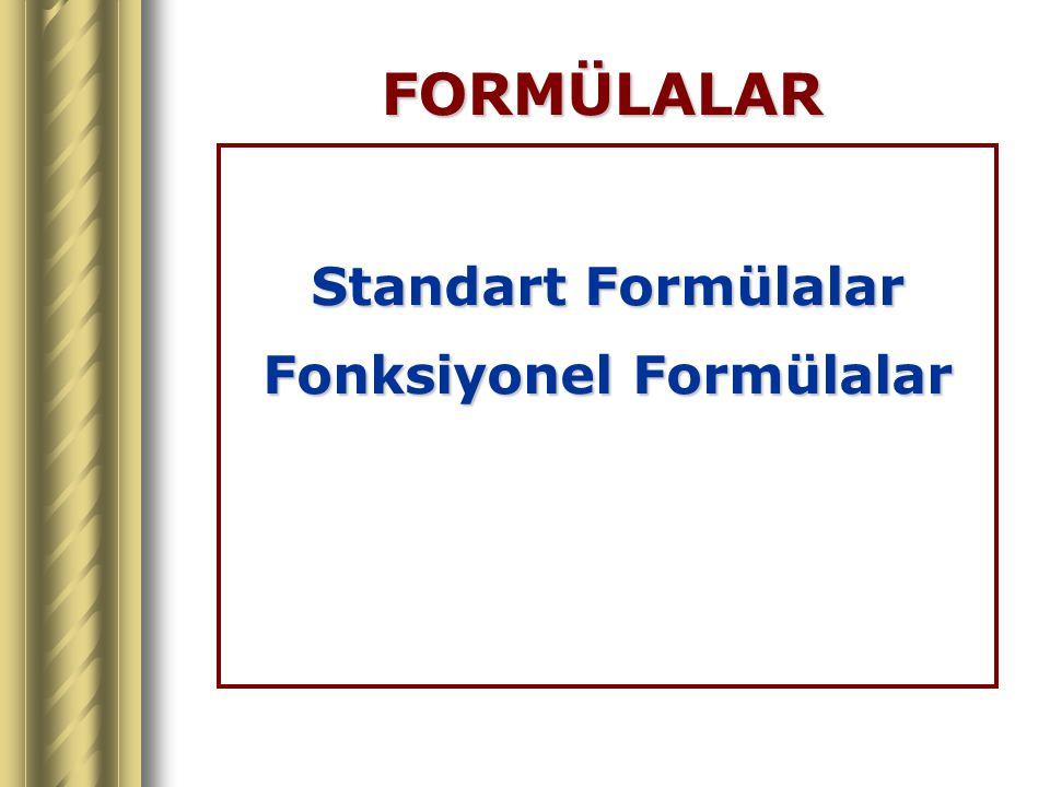 Fonksiyonel Formülalar