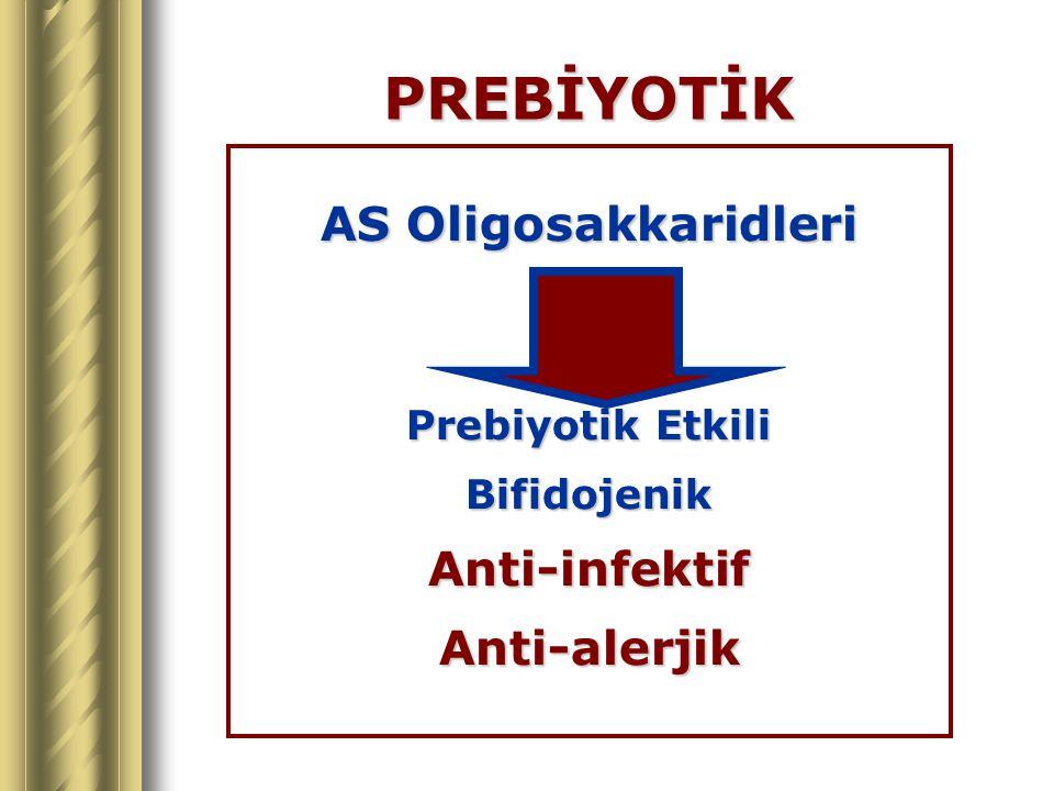 PREBİYOTİK AS Oligosakkaridleri Anti-infektif Anti-alerjik