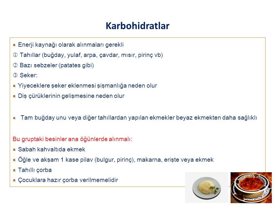 Karbohidratlar Enerji kaynağı olarak alınmaları gerekli