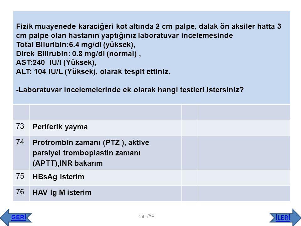 Total Biluribin:6.4 mg/dl (yüksek),