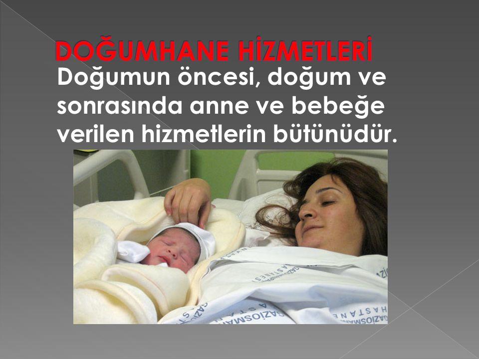 DOĞUMHANE HİZMETLERİ Doğumun öncesi, doğum ve sonrasında anne ve bebeğe verilen hizmetlerin bütünüdür.