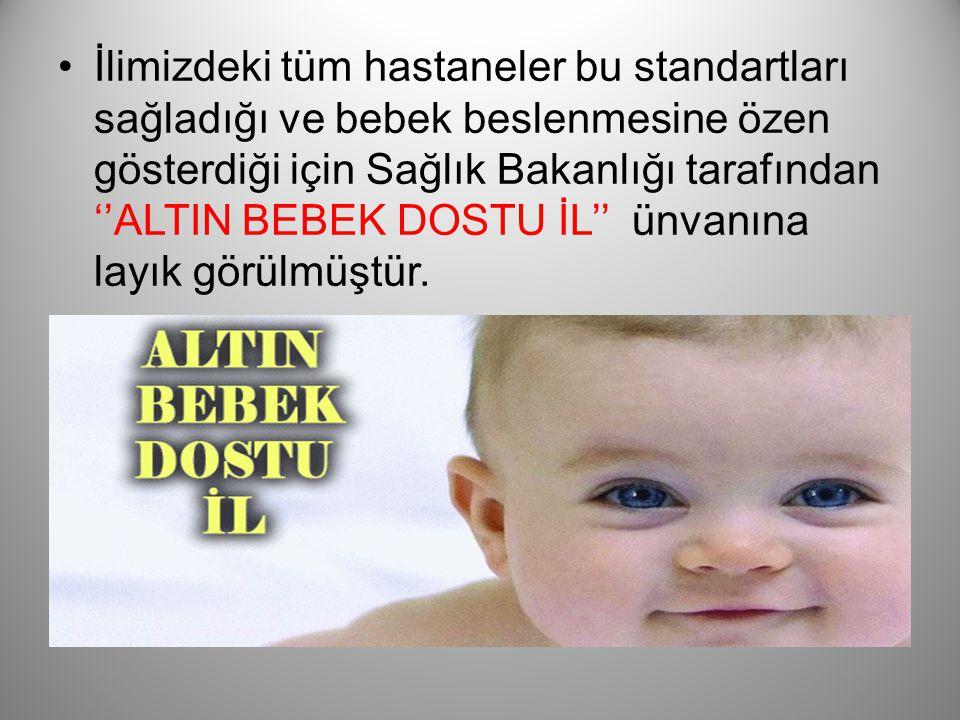 İlimizdeki tüm hastaneler bu standartları sağladığı ve bebek beslenmesine özen gösterdiği için Sağlık Bakanlığı tarafından ''ALTIN BEBEK DOSTU İL'' ünvanına layık görülmüştür.