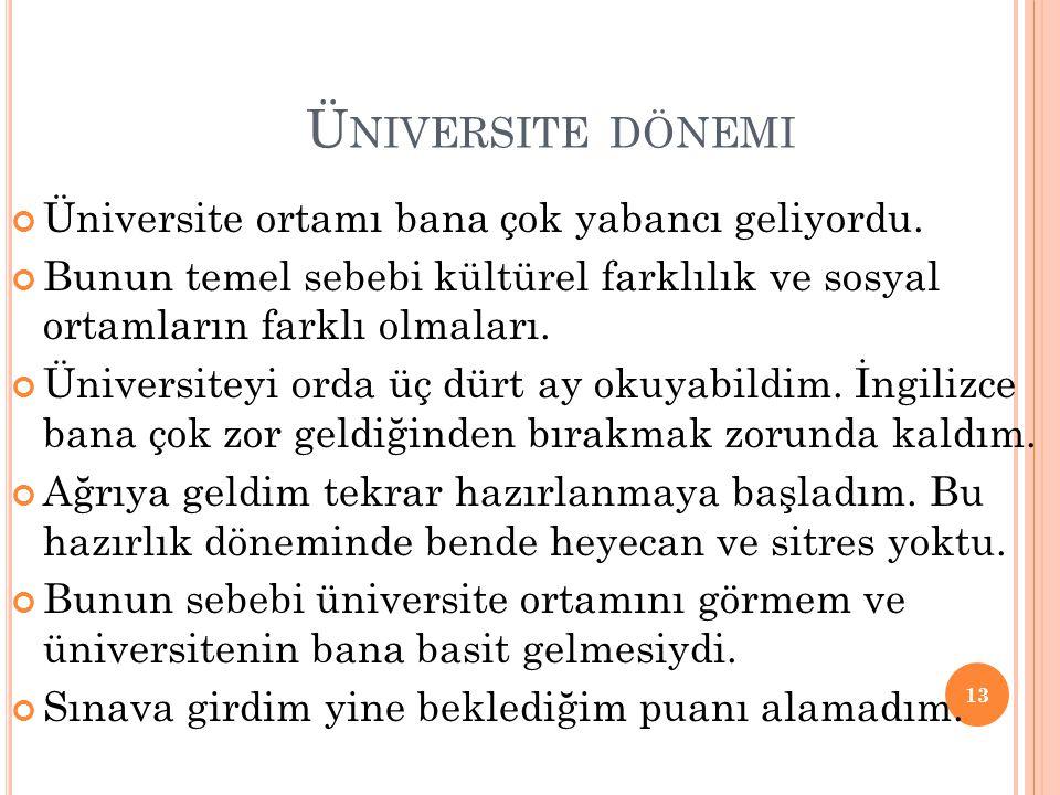 Üniversite dönemi Üniversite ortamı bana çok yabancı geliyordu.