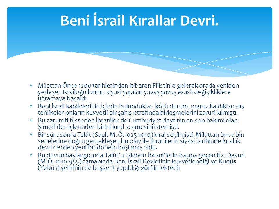 Beni İsrail Kırallar Devri.
