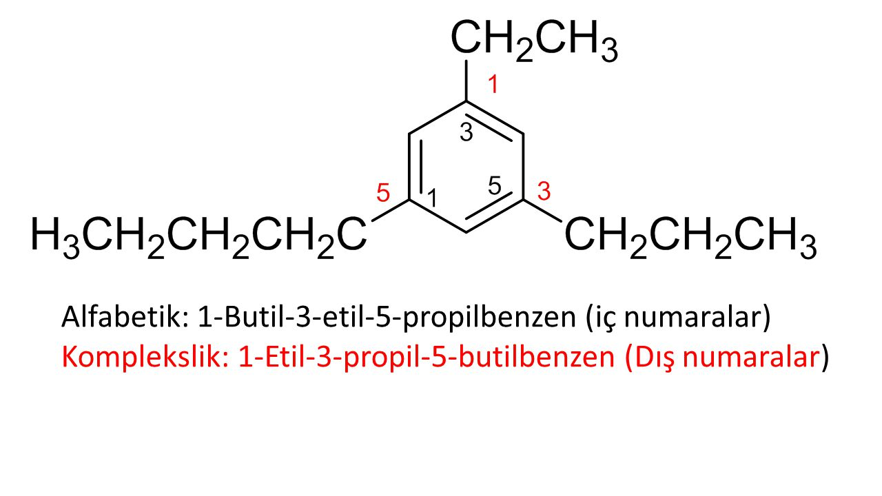 Alfabetik: 1-Butil-3-etil-5-propilbenzen (iç numaralar)