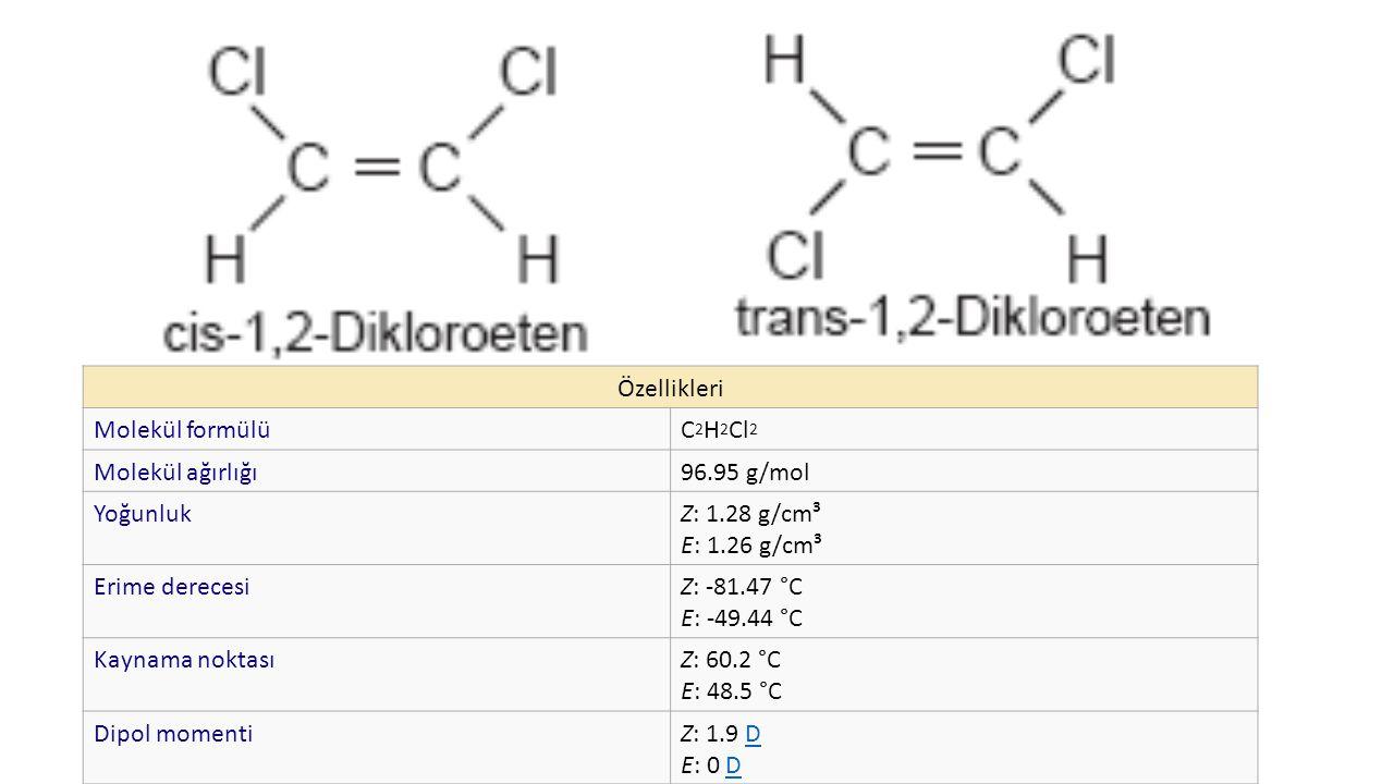 Özellikleri Molekül formülü. C2H2Cl2. Molekül ağırlığı. 96.95 g/mol. Yoğunluk. Z: 1.28 g/cm³ E: 1.26 g/cm³.