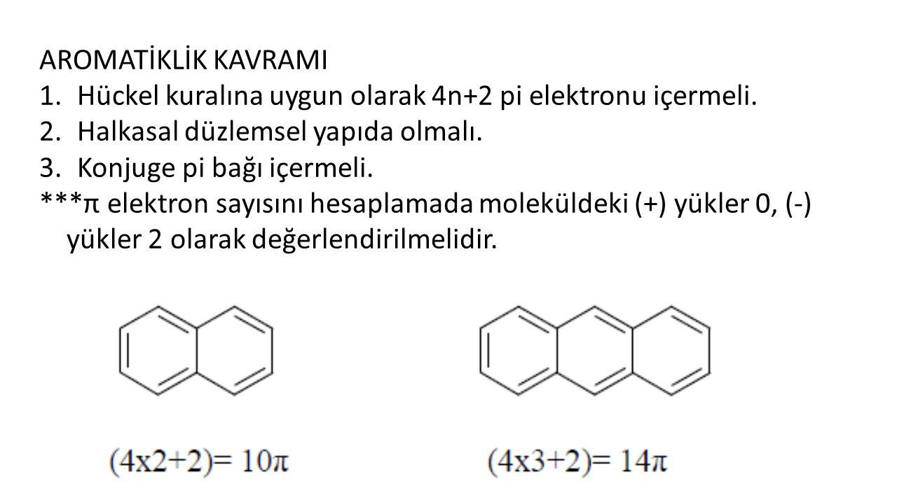 AROMATİKLİK KAVRAMI Hückel kuralına uygun olarak 4n+2 pi elektronu içermeli. Halkasal düzlemsel yapıda olmalı.