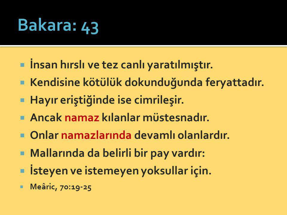 Bakara: 43 İnsan hırslı ve tez canlı yaratılmıştır.