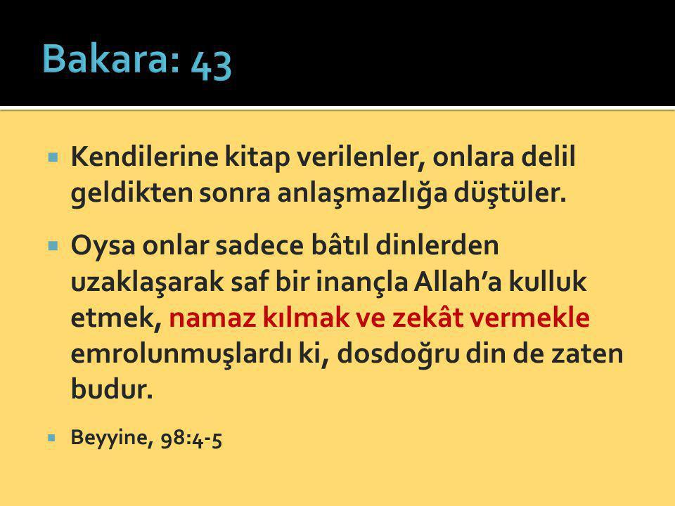 Bakara: 43 Kendilerine kitap verilenler, onlara delil geldikten sonra anlaşmazlığa düştüler.