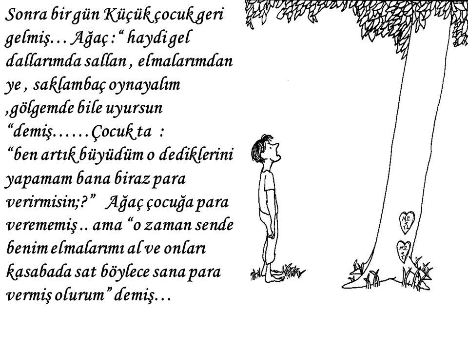 Sonra bir gün Küçük çocuk geri gelmiş… Ağaç : haydi gel dallarımda sallan , elmalarımdan ye , saklambaç oynayalım ,gölgemde bile uyursun demiş……Çocuk ta :