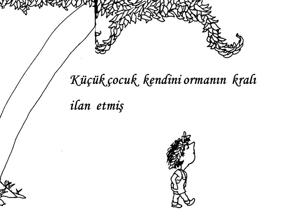 Küçük çocuk kendini ormanın kralı