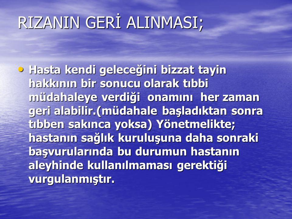 RIZANIN GERİ ALINMASI;