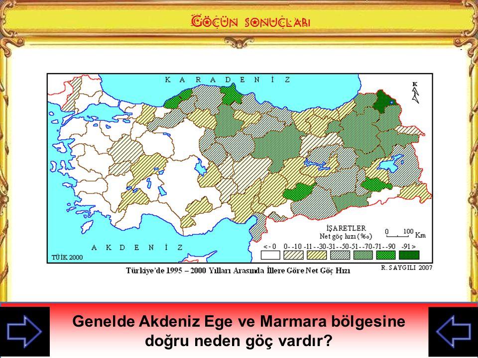 Genelde Akdeniz Ege ve Marmara bölgesine doğru neden göç vardır