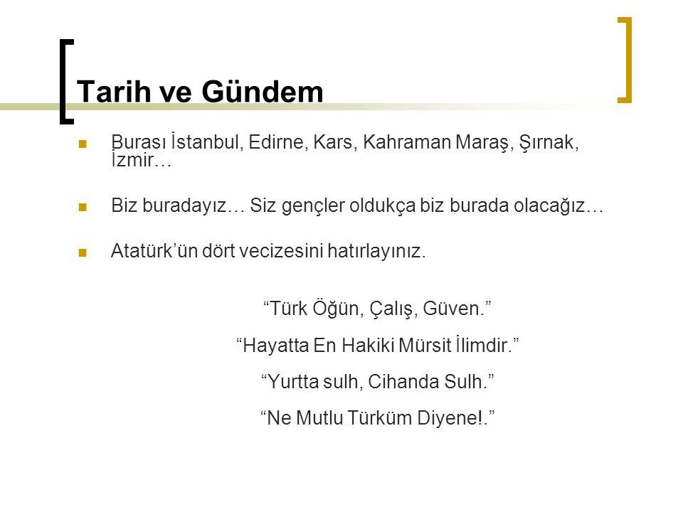 Tarih ve Gündem Burası İstanbul, Edirne, Kars, Kahraman Maraş, Şırnak, İzmir… Biz buradayız… Siz gençler oldukça biz burada olacağız…